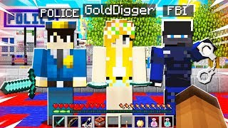 I Brought GOLD DIGGER To The POLICE SERVER in Minecraft!