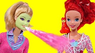 Sick Barbie visits Dr. Ariel and Throws-Up On Her | Barbie & Disney Princess Episodes on DCTC