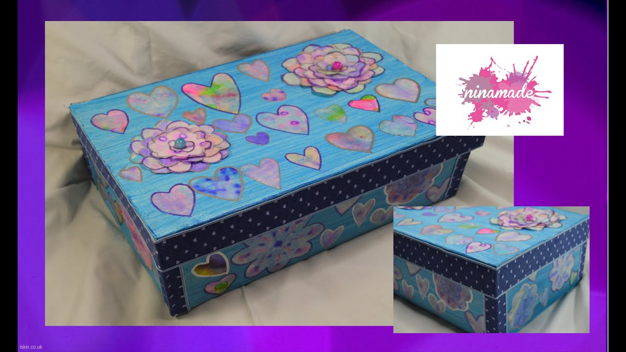 Diy caja de zapatos decorada decorated shoebox youtube - Como forrar una caja de zapatos ...