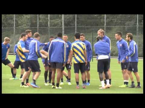 Arsene Wenger & Bacary Sagna pre Arsenal vs Napoli