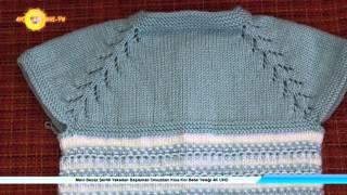Mavi Beyaz Şeritli Yakadan Başlamalı Omuzdan Kısa Kol Bebe Yeleği 4K UHD