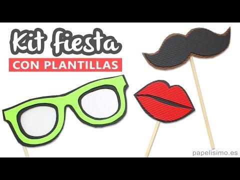 Complementos para photocall casero (gafas, bigote y labios beso ...