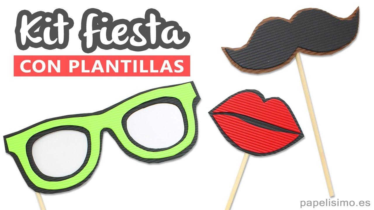 Complementos Para Photocall Casero Gafas Bigote Y Labios Beso
