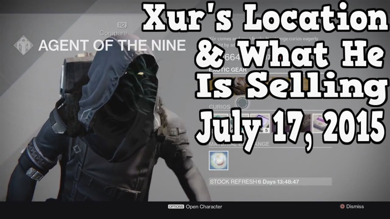 Destiny xur s location amp what he is selling 7 17 15 youtube