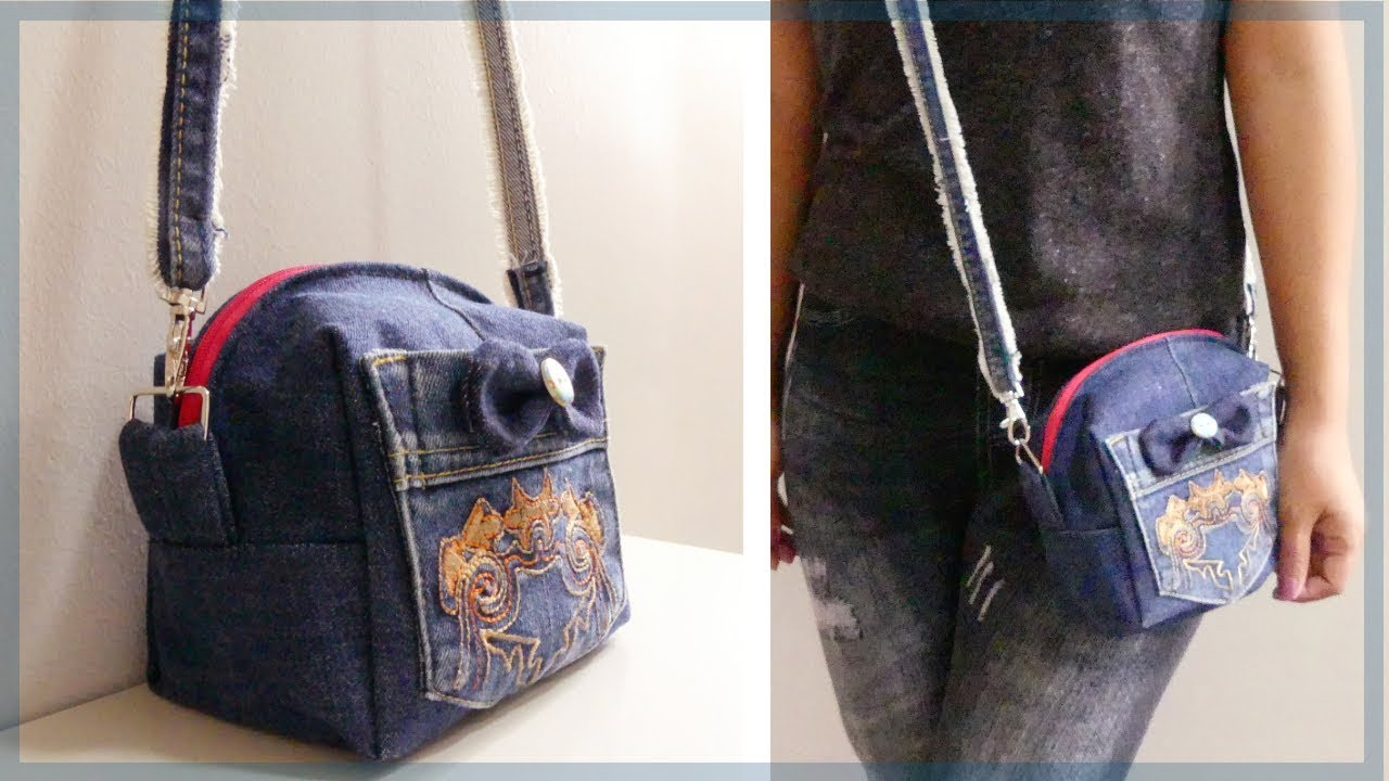 5429c8acf3ab DIY Mini Crossbody Bag from Old Jeans - YouTube