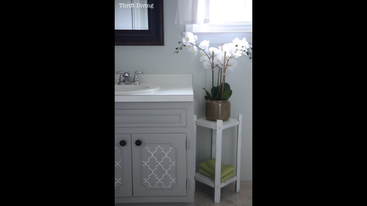How To Paint A Bathroom Vanity DIY Makeover Thrift Diving Blog - Painting bathroom vanity laminate