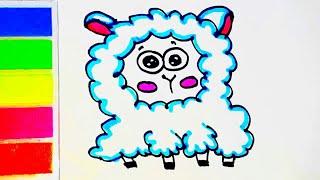 How to draw a cute lamb. Cómo dibujar un cordero. Как нарисовать овечку. Легкие рисунки.