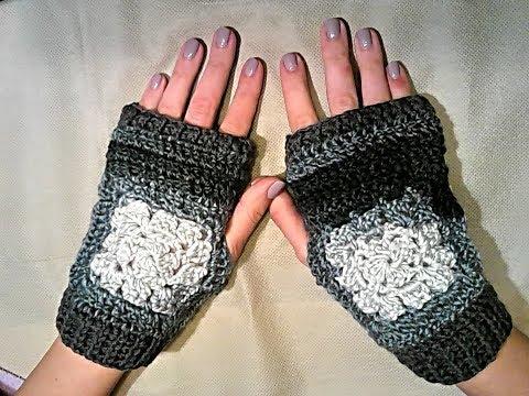 Mezzi guanti sfumati con polsino in coste