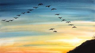 migration watercolor sky easy painting east south ie