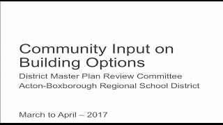 Community Input on Building Options District Master Plan Review Committee
