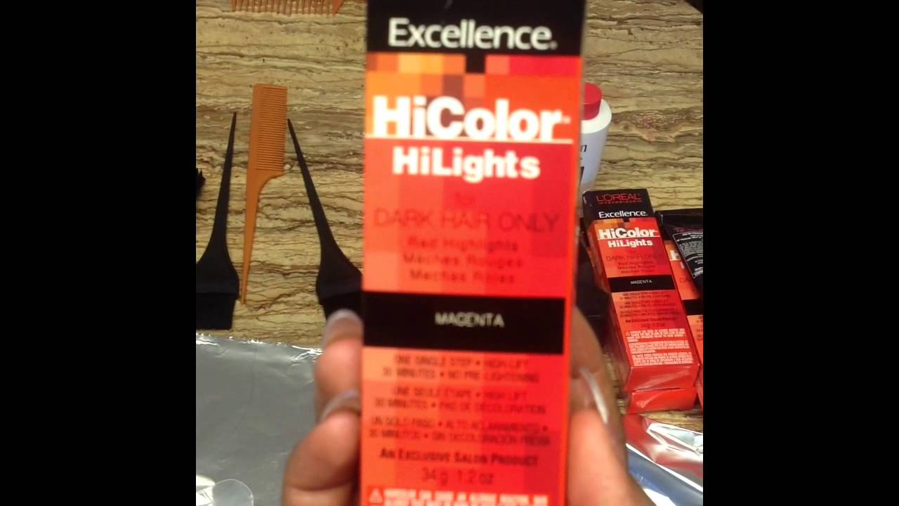 How To Color Dark Hair Red Using Loreal Hi Color Hilights Magenta