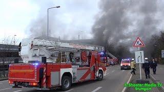 grossbrand im parkhaus stuttgart   groeinsatz mit werkfeuerwehr   feuer rauch   e