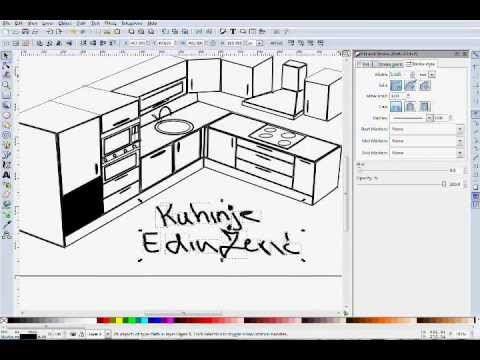 2d skiciranje kuhinje 2d kitchen sketch youtube for 3d drawing kitchen