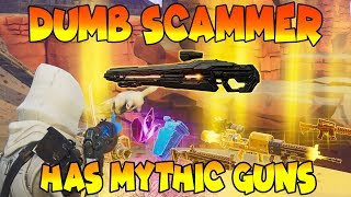 Dumb Scammer Has *INSANE* MYTHIC GUNS!! (Scammer Gets Scammed) Fortnite Save The World