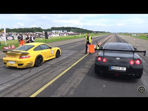 1070HP Porsche 9ff 997 Turbo VS 1500HP Nissan GTR – DRAG RACE!