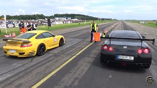 1070HP Porsche 9ff 997 Turbo VS 1500HP Nissan GTR - DRAG RACE!