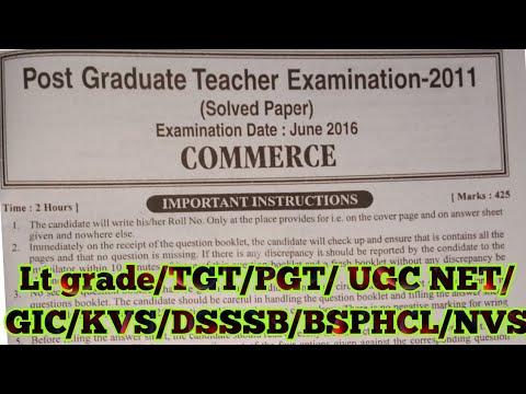Commerce| PGT Previous year paper (2016)| Lt grade/TGT/PGT/ UGC  NET/GIC/KVS/DSSSB/BSPHCL
