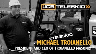 Video still for JCB Teleskid helps Troianello Masonry move heavy materials more efficiently