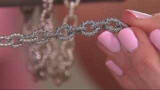 Sterling Silver Twisted Rolo Link Bracelet by Silver Style on QVC