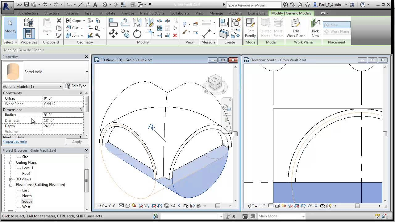 Revit Groin Vault Roof Part 2 Youtube