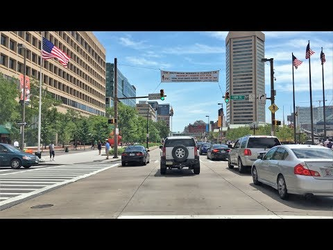 Driving Downtown - The Inner Harbor - Baltimore Maryland USA