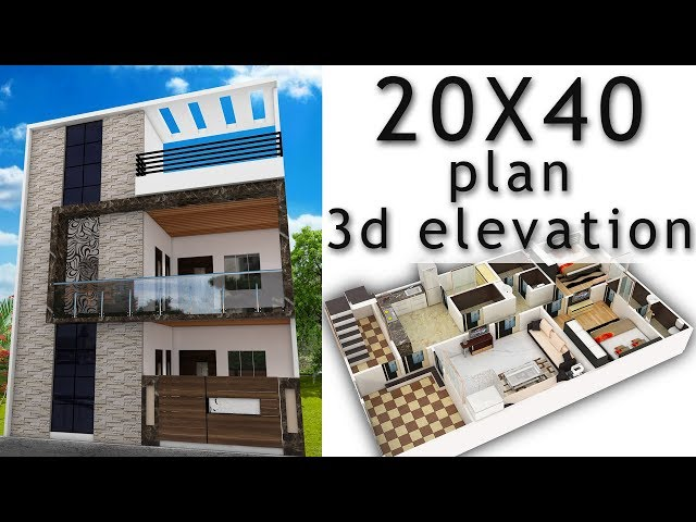 20X40 House plane with 3d elevation by nikshail
