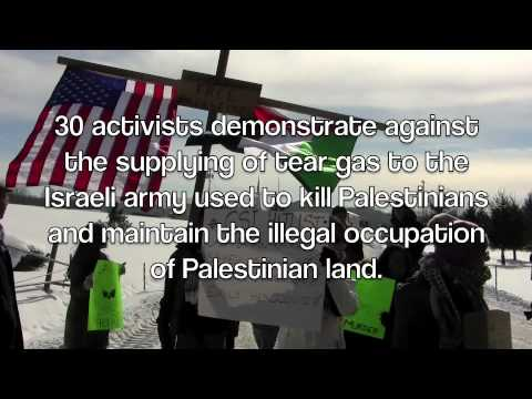 Palestine Solidarity Activists Protest at tear gas company Combined Systems Inc.