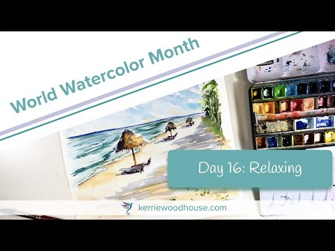 Watercolour beach painting demonstration time lapse – World watercolor month day 16