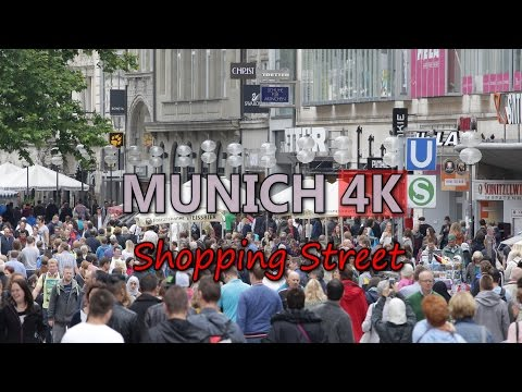 Ultra HD 4K Munich Travel Lifestyle Shopping Street Tourism Germany People Shop Video Stock Footage