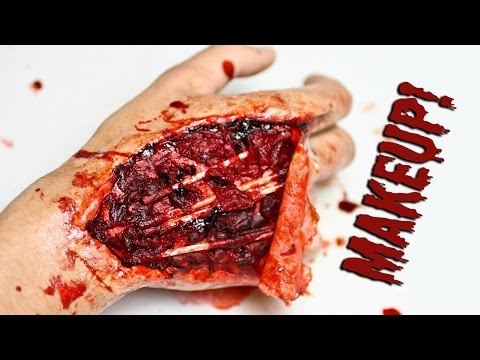 Tutorial: Injured Hand Makeup (with tendons exposed) Using Wax and Latex
