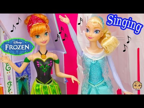 "2 Singing Disney Frozen ""Let It Go"" Queen Elsa and Princess Anna Dolls Toy Review Cookieswirlc Video"