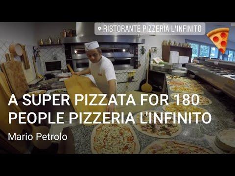 A SUPER PIZZATA FOR 180 PEOPLE PIZZERIA L'INFINITO