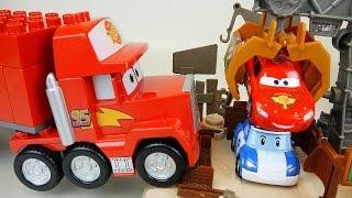 Lego Cars truck block car and Robocar Poli McQueen crane toys