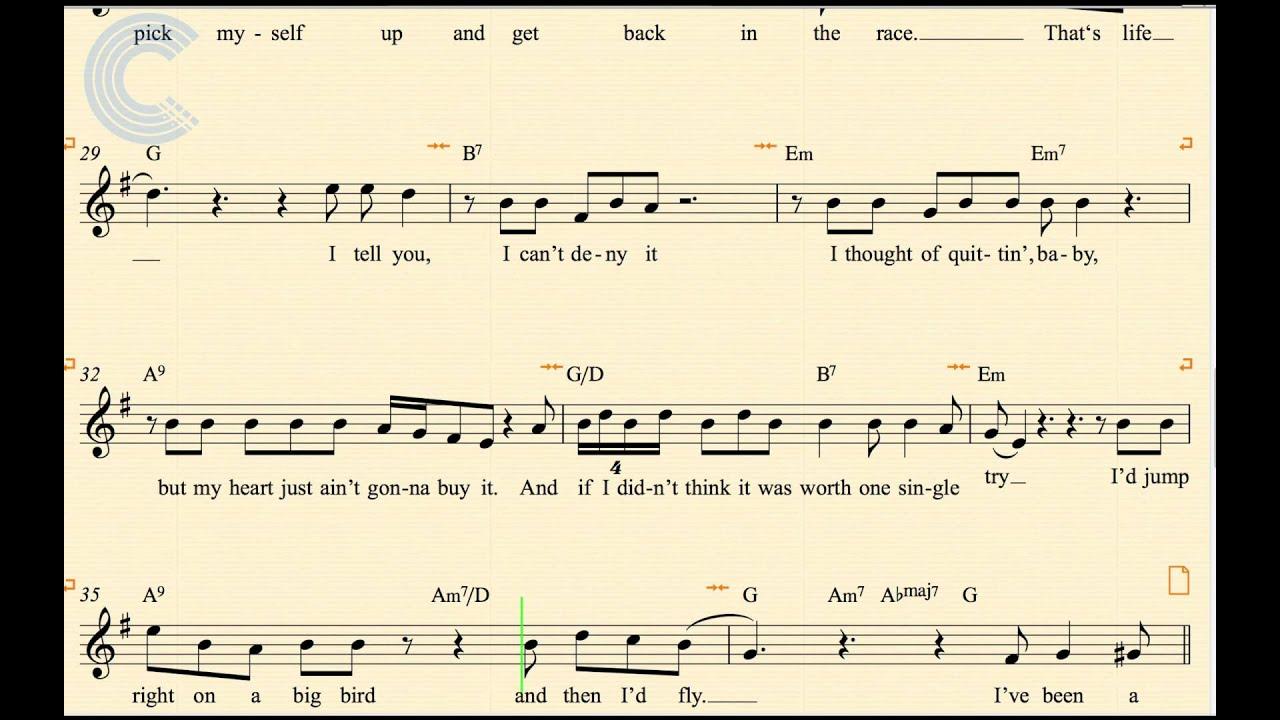 Violin Thats Life Frank Sinatra Sheet Music Chords Vocals