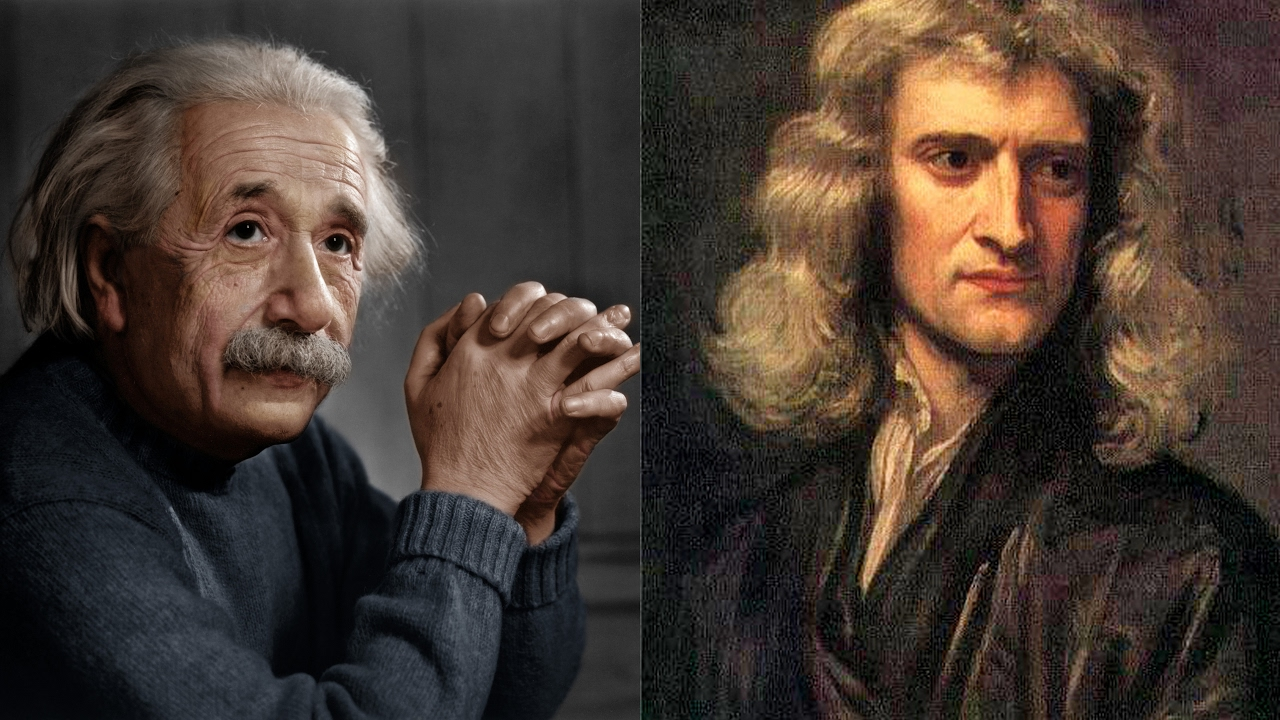 Image result for newton and einstein