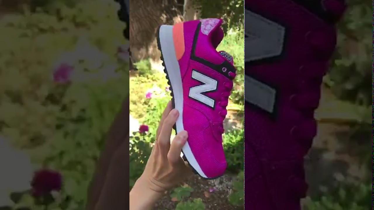 Женские кроссовки New Balance WL574ASD. Малиновые - YouTube