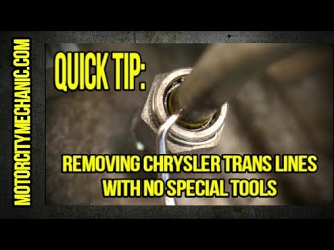 Quick Tip: Removing Chrysler transmission lines with no special tools  YouTube