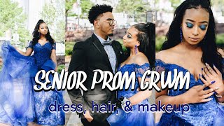 SENIOR PROM GRWM 2019| nails, hair, makeup, dress