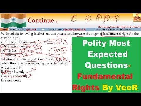 Polity Most Expected Questions for Exams- UPSC/PSC/SSC/IBPS (Fundamental Rights) By VeeR
