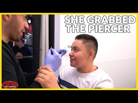 She Grabbed The Piercer While Piercing!!