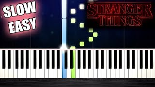 Stranger Things Theme - SLOW EASY Piano Tutorial by PlutaX