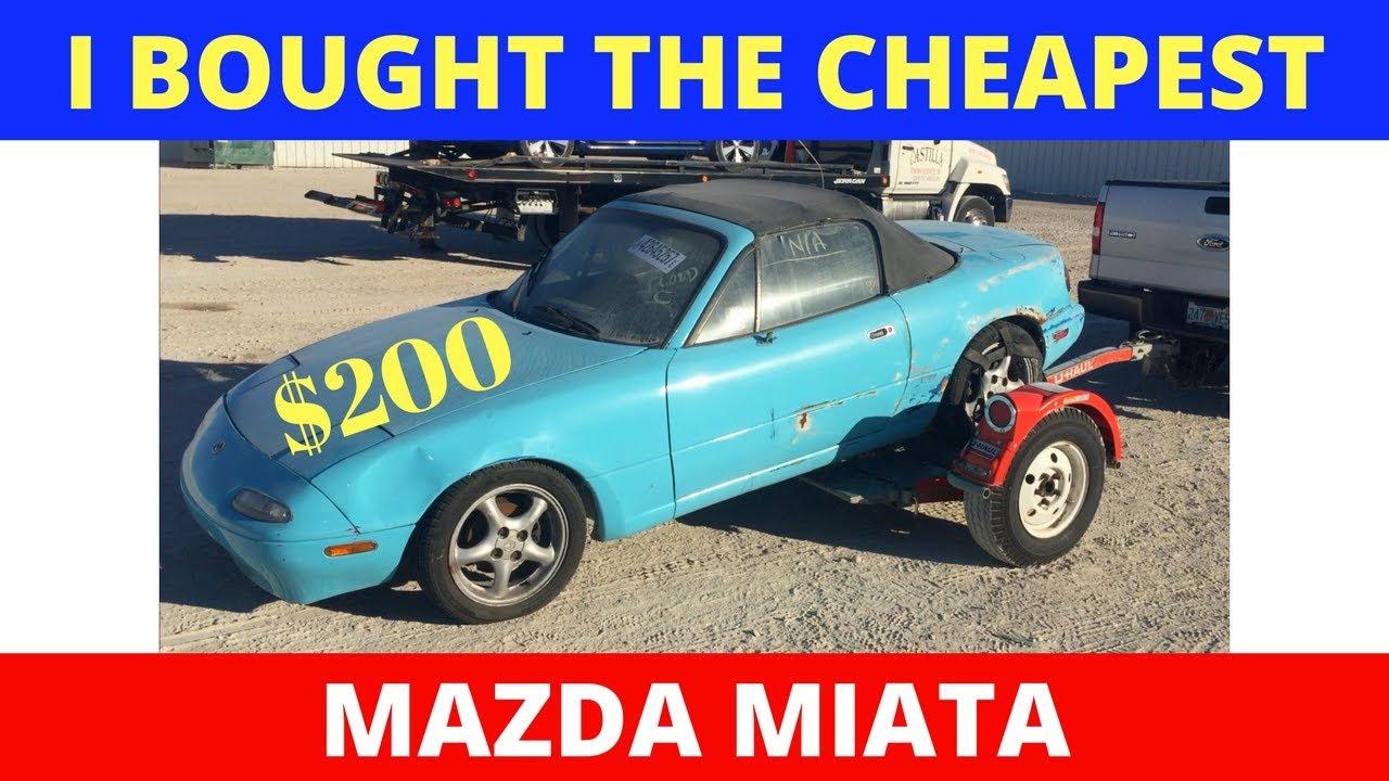 I Bought The Cheapest Mazda Miata Flood, Salvage Car (Will It Run ...