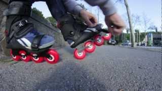 Bajando Montjuic con patines doop