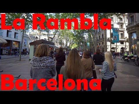 A Walk Along La Rambla of Barcelona, Boqueria Market and Port Vell - in 4K
