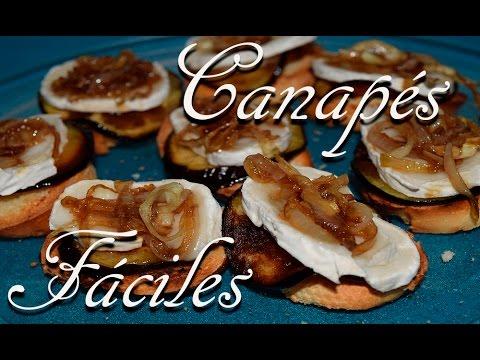 Canap s f ciles berenjena con queso rulo de cabra y for Canape de pate con cebolla caramelizada