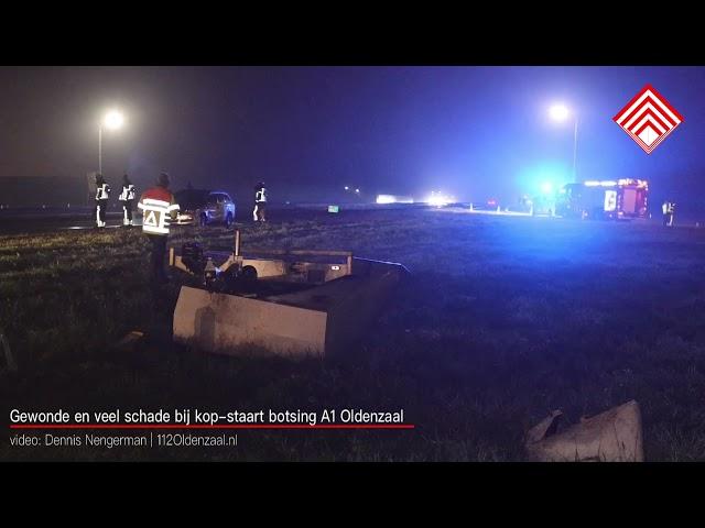Gewonde en veel schade bij ongeval op A1 Oldenzaal