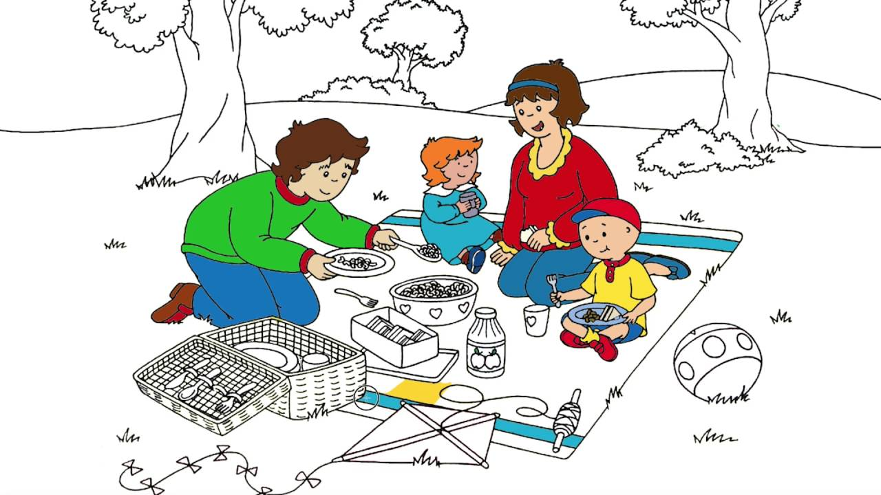 caillou coloring page 2 caillou and his family having a picnic