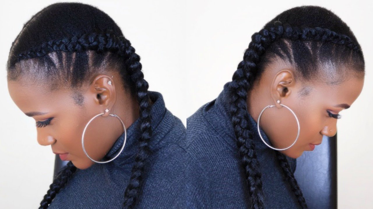 Feed In Two Braids On Short Natural Hair Youtube