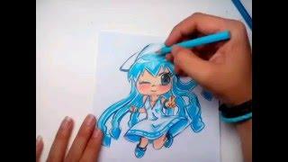 Draw Chibi Shinryaku ika musume(Squid Girl) วาดสาวน้อยปลาหมึก