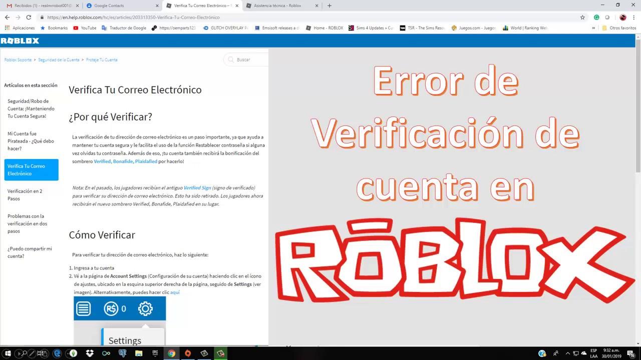 Roblox 2019 Icono De Roblox Error En Roblox En Verificacion De Cuenta Correo Electronico Y Como Crear Contactos En Gmail Youtube